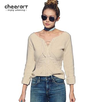 Cheerart 2017 Fashion Brand Sweater Women Pullover Cropped Sexy V Neck Lace Up Bandage Long Sleeve Pull Femme Autumn Winter