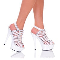 """6"""" Strappy Platform With Stud Detail And Ankle Strap"""
