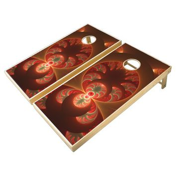 Luminous abstract modern orange red Fractal Cornhole Set