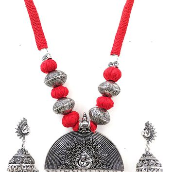 Dori thread Oxidized Lord Ganesha Pendant Long chain Necklace and Earring set