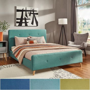 MD Button Tufted Linen Fabric Bed with Footboard by iNSPIRE Q Modern