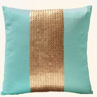 Amore Beaute Handmade Teal pillow covers- Teal gold color block in silk and sequin- Decorative throw pillow covers with sequin and bead embroidery- Sequin pillow covers- Couch pillows- Sofa pillows- Teal cushion with detailed hand embroidery- 16x16 pillow