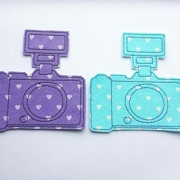 Iron On Patch Heart Camera Appliques in Lilac and Blue - Set of 2