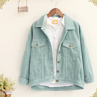 Corduroy pocket Turn-down collar long sleeve Single-breasted personality jacket coat mori girl 2016 autumn