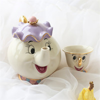 Hot Sale Cartoon Beauty And The Beast Tea Set Teapot Mrs Potts POT Chip Cup Mug 2PCS One Set Lovely Gift Drop Shipping Fast Post