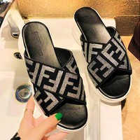 FENDI Summer Fashion Women F Letter Print Thick Soles Sandal Slipper Shoes Silvery