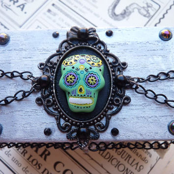 Metallic Silver Romantic Mexican Sugar Green Skull MINI BOX Chest