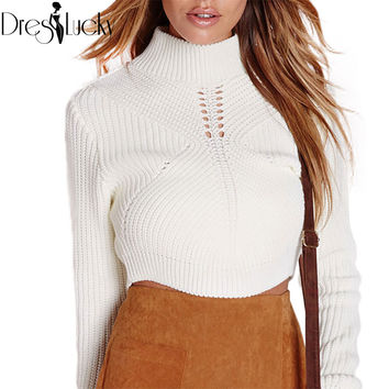 Fashion turtleneck crop knitted sweater slim sexy jumper women sweaters and pullovers autumn 2016 knitwear hollow out clothing