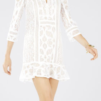White BCBG Sofee Lace-Blocked Flounce Tunic