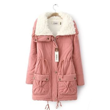 2016 Hot Sale Warm Casual Long Manteau Femme Hard-Wearing Thermal Doudoune Anti-Wind Abrigos Mujer Pink Winter Jacket Women Coat