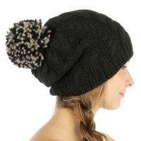 HauteChicWebstore Chunky Cable Knit Pom Beanie in Black - www.shophcw.com