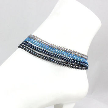 Blue Anklet - Beaded Jewelry - Multi Strand Anklet - Bead Ankle Bracelet - Summer Jewelry - Beadwork Anklet - Beach Jewelry