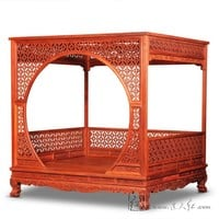 Factory can be customized King full Bed Frame Chinese Retro Classic double canopy Pencil Post bed Bedframed Solid Wood rosewood