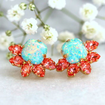 Opal Earrings, Coral Mint Earrings, Bridesmaids Earrings, Bridal Earrings, Swarovski Mint Opal Earrings, Gift For Her, Mint coral Studs