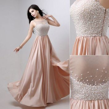 LMFIH3 Fashion new dress vest type long annual banquet pearl evening dress