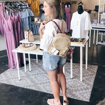 Brady Raffia Backpack