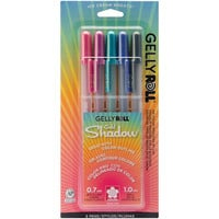 Gelly Roll Gold Shadow Bold Point Pens 5/Pkg-Pink, Lavender, Green, Blue & Black