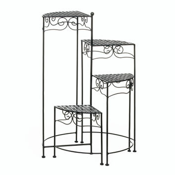 Plant Stands Indoor Tall, Four Tiered Black Flower Plant Stand