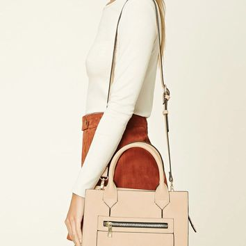 Faux Leather Zipper Satchel