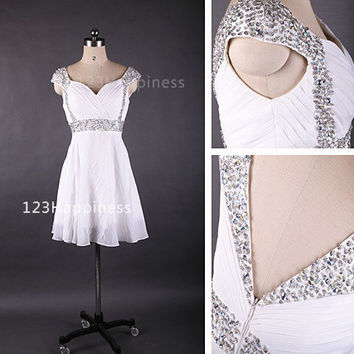Short  Prom  Dresses  ,Cap Sleeves Beaded Sequins Chiffon Shiny Crystals ,Cheap Homecoming dress,Corset Cocktail Party Gowns.PD01