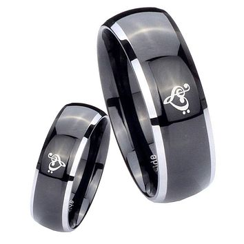 His Hers Gossy Black Dome Music & Heart 2 Tone Tungsten Wedding Rings Set