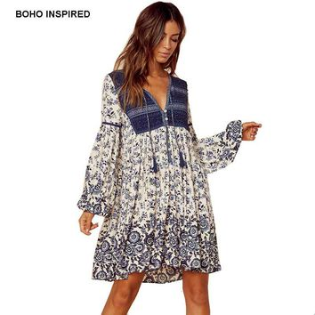 Boho Inspired summer dress patchwork floral print tassel mini V-neck women dresses long sleeve rayon chic bohemian 2018 vestidos