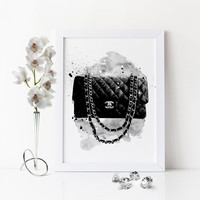 COCO CHANEL BAG,Fashion Art,Watercolor Fashion Artwork,Fashion Illustration,Coco Chanel Art,Gift For Her,Gift For Birthday,Chanel Wall Art