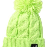 Fox Juniors Legend Pom Beanie, Day Glo Green, One Size