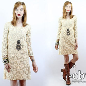 Vintage 60s Cream Crochet Lace Dress XS S Hippie Wedding Dress Hippie Dress Hippy Dress Boho Dress Hippy Wedding Dress Boho Wedding Dress