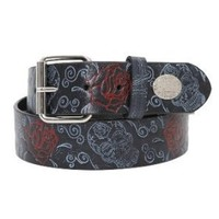 Rock Rebel Sugar Skull Rose Belt Size : Medium