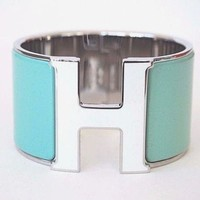 Authentic HERMES Clic Clac PM Bracelet H XL Lagoon Blue White H Bangle