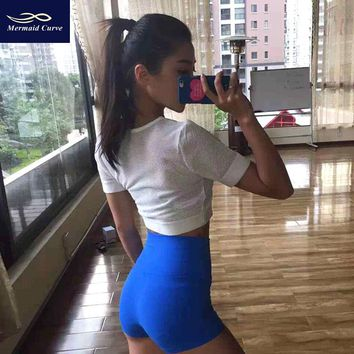 Mermaid Curve Sexy Women Yoga Shorts Sports High Waist Fitness Breathable Running Gym Yoga Fitness Workout Tight Shorts