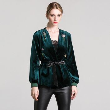 Velvet Designer V-neck Jacket (Green/Brown)