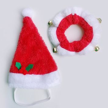 Christmas Dog Hat And Collar Set Dogs Costume Santa Hats Cap Necklace With Bell Pet Supplies For Christmas Festival Decoration