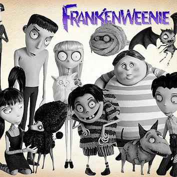 33 frankenweenie Clipart PNG disney Digital Graphic Image franken weenie Clip Art Scrapbook Invitations INSTANT DOWNLOAD printable 300 dpi
