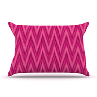 "Amanda Lane ""Berry Pink Chevron"" Magenta Purple Pillow Sham"