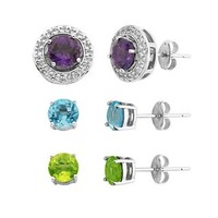 Multi-Gemstone Stud Earring & Halo Jacket Set in Sterling Silver - Top Gifts for Her - Recipient - Gift Guide - Helzberg Diamonds