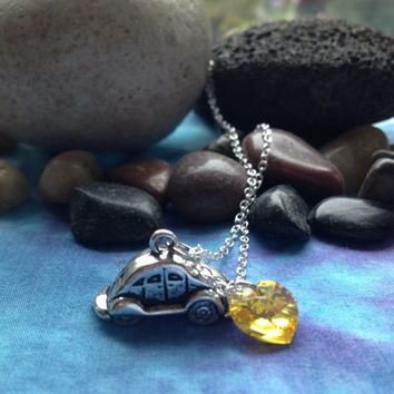 Emma Beetle Once Upon a Time Character Necklace with Charm and Swarovski Crystal Heart
