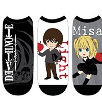 Anime -Death Note Unisex Low Cut No Show Socks-(5 Pack) One Size