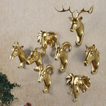Decorative Resin Hanger Animal Head Modeling European Style Overcoat Hooks for Door Creative Wall Elephant Antelope Deer Horse