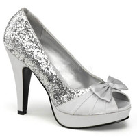 Silver Glitter Satin Peep Toe Heels - Silver Prom Shoes - Pleaser USA Style BETTIE10