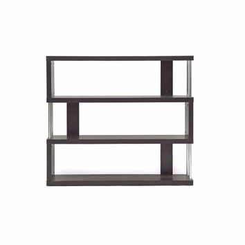 Barnes Dark Brown Three-Shelf Modern Bookcase By Baxton Studio