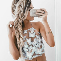 Halter Transparent Bustier Crop Top Lace Up Backless Lace Tank Top