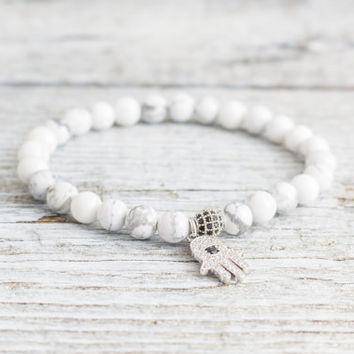 White howlite beaded stretchy bracelet with micro pave silver Hamsa hand charm, made to order bracelet,  mens bracelet, womens bracelet
