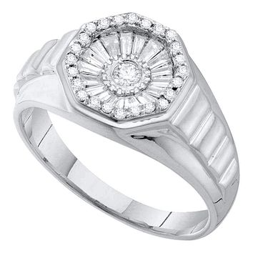 14kt White Gold Men's Round Diamond Concave Cluster Ribbed Ring 1/2 Cttw - FREE Shipping (US/CAN)