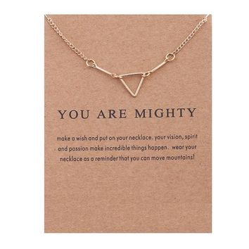 Openwork Triangle Card Alloy Clavicle Pendant Necklace  171208