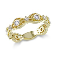 Scalloped Diamond Gold Fashion Ring 1/4ctw