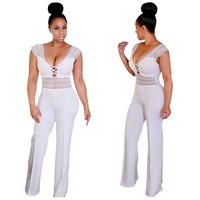 White Lace-up Cut-Out Jumpsuit