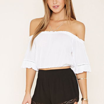 Crochet Smocked Shorts | Forever 21 - 2000187580