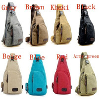 Men's Women's Small Canvas Sling Messenger Chest Bag Backpack Shoulder Travel Bag Fanny